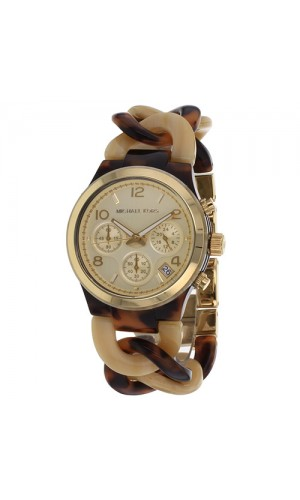Michael Kors Ladies Chronograph Yellow Gold-tone Tortoise Twist Chain Link and Horn Acetate Bracelet Watch MK4270