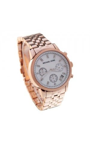 Michael Kors Ladies MK5026 Acrylic Rose Gold Chronograph Designer Watch
