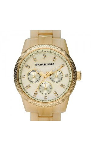 Michael Kors Ladies Watch Acrylic Ritz Horn Chronograph with Stones Watch MK5039