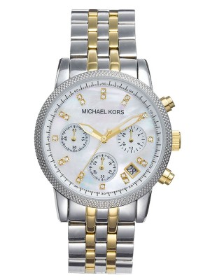 Michael Kors Ladies Ritz Two-Tone Chronograph Designer Watch MK5057