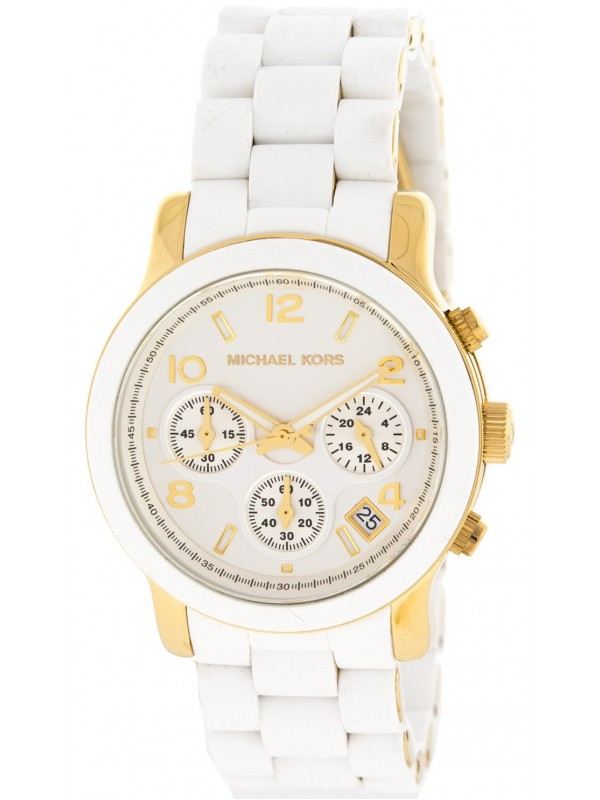 Michael Kors MK5145 Ladies Two Tone Stainless Steel Quartz Runway Chronograph White and Yellow Goldtone Dial Watch