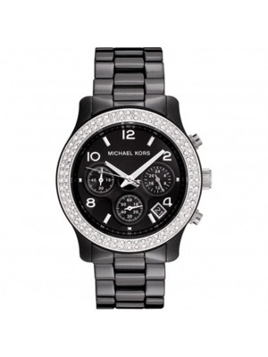 Michael Kors Ladies MK5190 Black Ceramic Chronograph Runway Stainless Steel and Black Ceramic Bracelet Glitz Watch