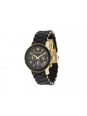 Michael Kors Ladies Chronograph Runway Gold-Tone Stainless Steel and Black Catwalk Polyurethane Bracelet Watch MK5191