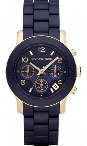 Michael Kors Ladies Runway Navy Blue Polyurethane-Wrapped Gold-Tone Stainless Steel Bracelet Watch 38mm
