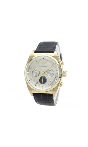 Emporio Armani AR0372 Mens Classic Gold Tone Stainless Steel Watch with Brown Gray Croc Embossed Leather Strap