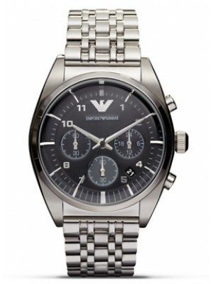 Emporio Armani AR0374 Mens Classic Grey Gunmetal Stainless Steel Bracelet Watch