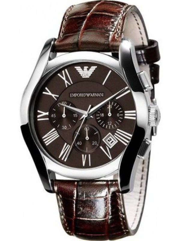 Emporio Armani Men's AR0671 Chronograph Dial Leather Brown Dial Watch