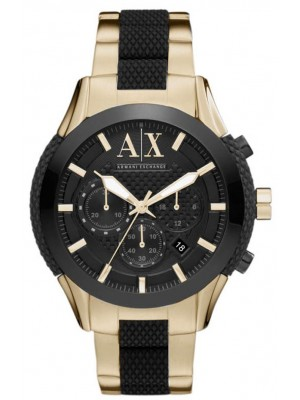 Armani Exchange AX1222 Mens Black Dial Gold Tone Watch with Zulu Chronograph