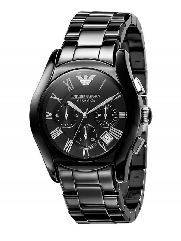 Emporio Armani AR1400 Mens Black Ceramic Watch with  Round Black Dial
