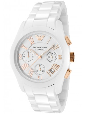 Emporio Armani Ladies White Ceremica Watch AR1417