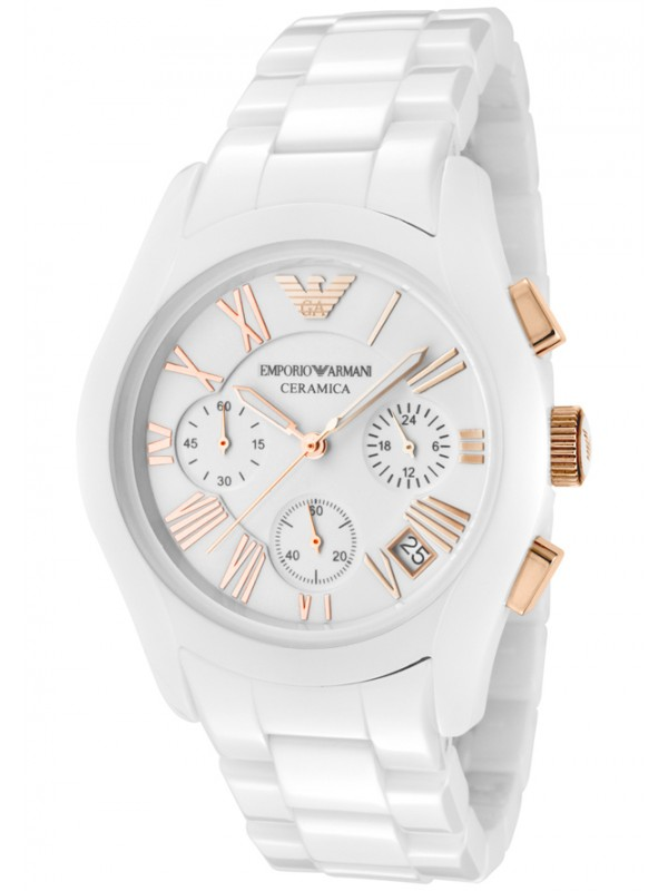 Emporio Armani Ladies White Ceramica Watch AR1417