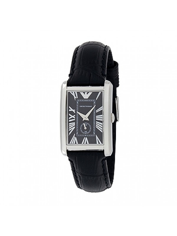 Emporio Armani Women's Quartz Watch Classic Marco AR1636 with Black Leather Strap