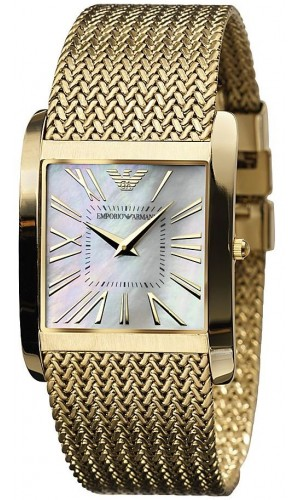 Emporio Armani men's AR2016 Gold-Tone slim Mesh Stainless-Steel Quartz Watch with Gold Dial