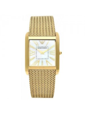 Emporio Armani Ladies AR2017 Gold-Tone slim Mesh Stainless-Steel Quartz Watch with Gold Dial