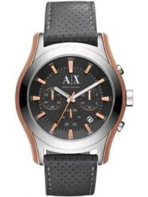 Armani Exchange AX2072 Perforated Grey Dial Leather Men's Watch