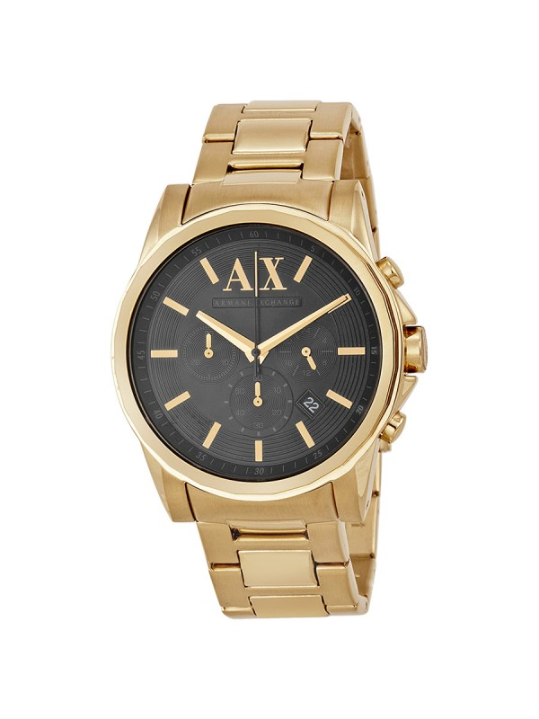 Armani Exchange Banks AX2095 Mens Black Dial Watch with Gold Plated Steel Bracelet