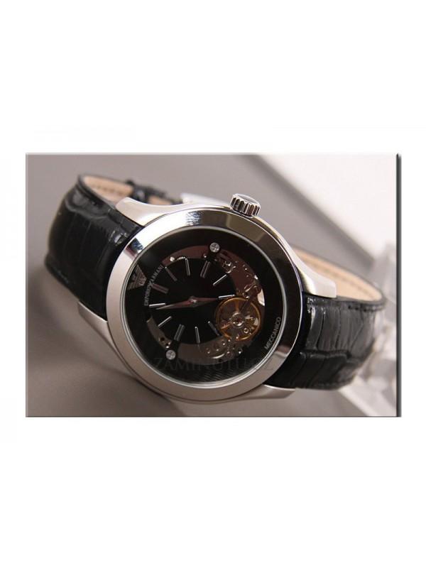 48ae76fbdc7 Emporio Armani Mens AR4640 Meccanico Black Stainless-Steel Watch
