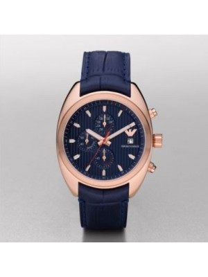 Emporio Armani Men's Sports Luxe Chronograph Blue Strap Watch AR5935