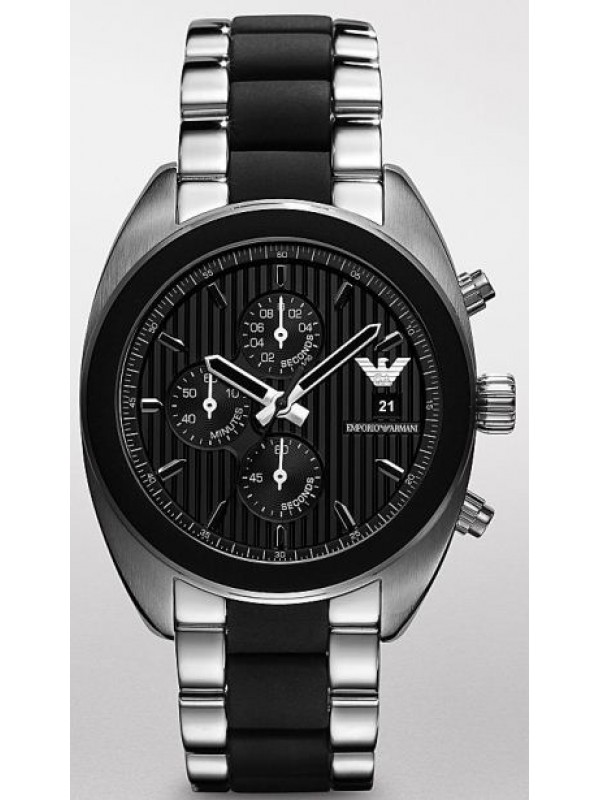 Emporio Armani AR5952 Chronograph Sportivo Mens Stainless Steel Watch with Silicon Bracelet