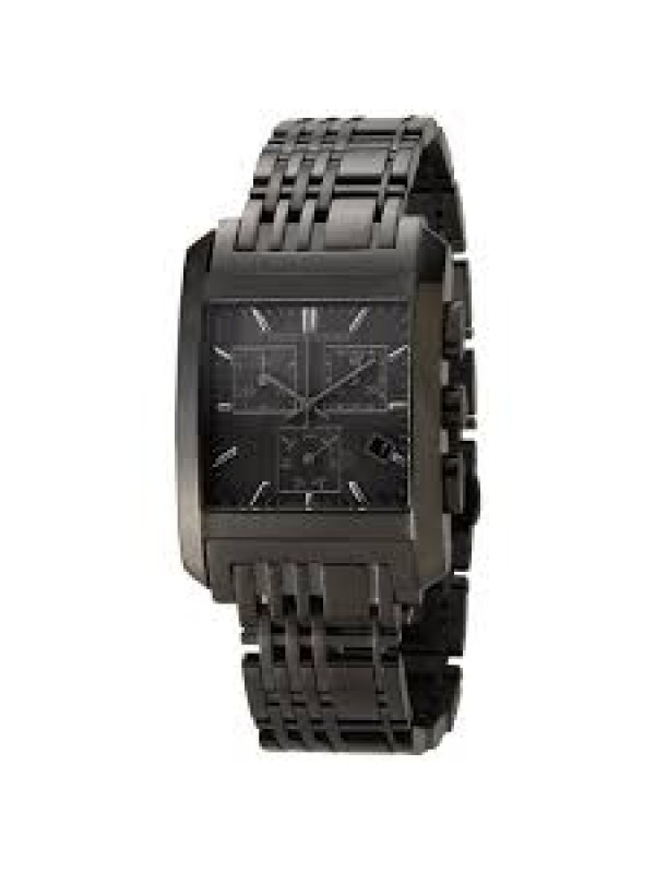 Burberry Mens BU1563 Square Check Grey Chronograph Dial Watch with Black Bracelet