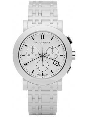 burberry outlet watches 74ko  Burberry BU1770 Ceramic White Chronograph Dial Heritage Unisex watch