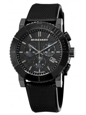 Burberry Gents BU2301 Men's Chronograph Black Rubber Trench Strap Watch