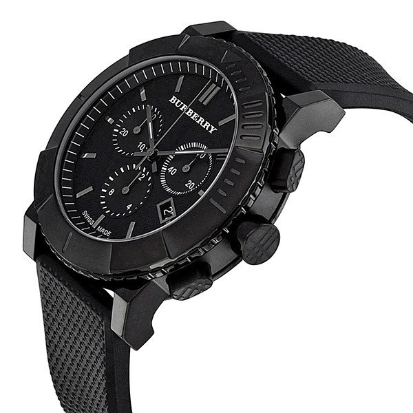 gents bu2301 men s chronograph black rubber trench strap watch burberry gents bu2301 men s chronograph black rubber trench strap watch