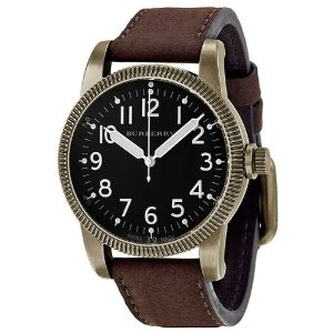 Burberry BU7807 Military Brown Leather Watch with Antique Gold Case