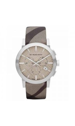Burberry BU9358 Mens Smoke Check Fabric Strap Watch with Swiss Beige Dials