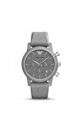 Armani Classic Chronograph Grey Dial Grey Silicone Strap Ladies Watch AR1055