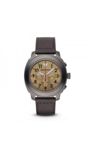 Armani AR 6055 Gold Sunray Dial Men's Leather Watch