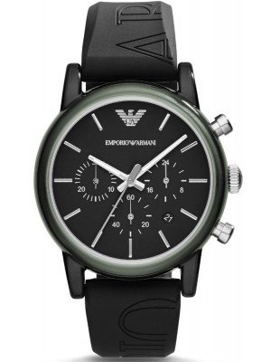 Armani Classic Chronograph Black Dial Grey Silicone Strap Ladies Watch AR1053