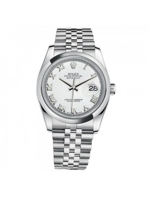 Rolex 116200 Datejust White Roman Dial Jubilee Bracelet Unisex Luxury Watch