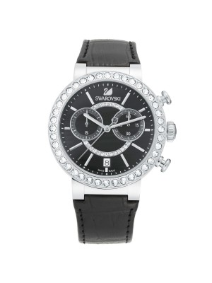 Swarovski Citra Sphere Chronograph Black Ladies Leather 5027131 Watch