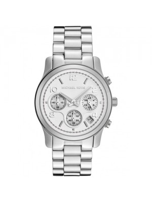 Silver Midsized Michael Kors Chronograph Ladies Watch MK5076