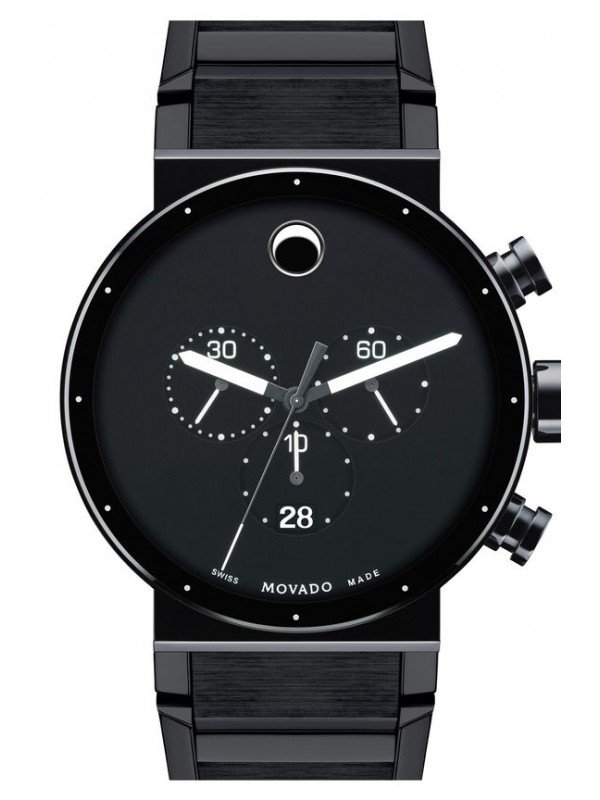 Movado Sapphire Synergy Black Dial Chronograph Men's 0606501 Watch