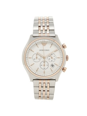 Emporio Armani Zeta Chronograph Cream Dial Dress Two Tone Quartz Men's Watch AR1998