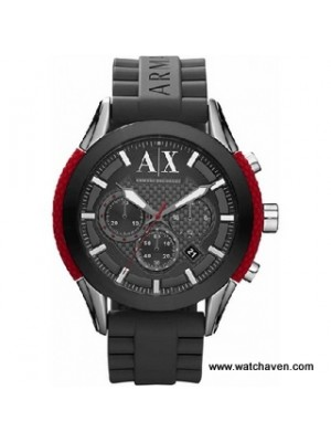Armani Exchange Men's AX1211 Black Rubber Quartz Watch with Grey Dial
