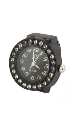 Elastic Black Band Rhinestone Case Finger Ring Watch