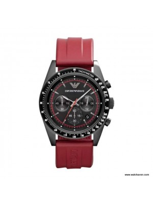 Emporio Armani Red strap Chronograph Mens Watch AR6114
