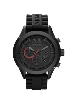 Armani Exchange Men's AX1212 Black Rubber Quartz Watch with Grey Dial