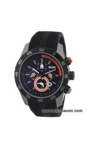Hugo Boss Watch with Black Lined Rubber Strap Round Dial for men