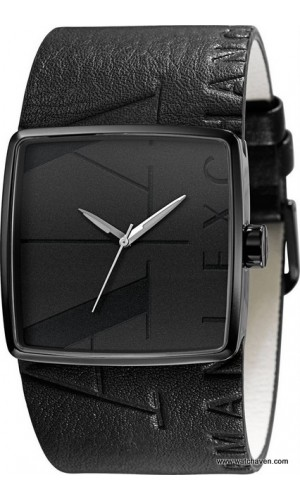 Armani Exchange Black Leather Cuff Strap Mens Watch AX6002