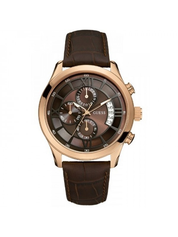 Croco Brown Leather Guess W14052G2 Mens Chronograph Dress Watch