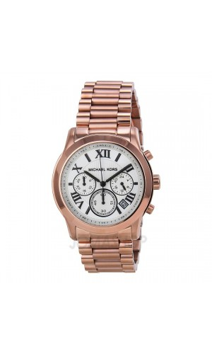 Michael Kors Cooper Chronograph White Dial Rose Gold-tone Ladies Watch MK5929.