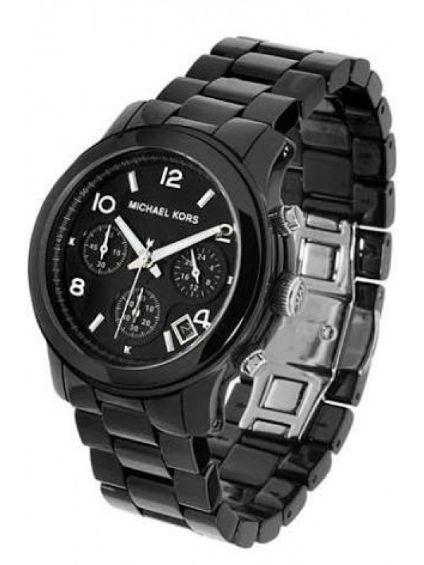 MICHAEL KORS LADIES RUNWAY BLACK CERAMIC CHRONOGRAPH WATCH MK5162