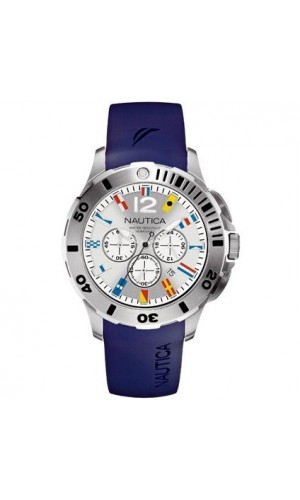 Nautica Mens Blue Watch With Rubber Chronograph And Flag Hour Markers