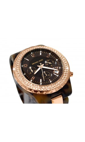 Michael Kors Chronograph Tortoise Rose Gold Watch for ladies