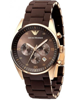 Emporio Armani Brown Dial Chronograph Mens Watch with Rosegold finish  AR5890