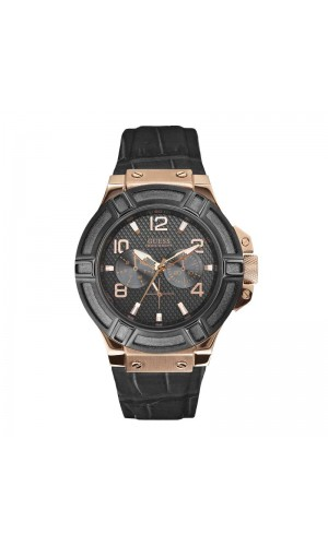 Guess Men's Sport Quartz Watch with Black Leather Strap W0040G5